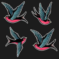 Set of swallow illustrations in old school tattoo style. For poster, card, banner, flyer. Vector illustration