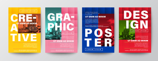 Set of Creative Graphic Design layout. Typography on colors background for Poster, Brochure, Flyer, leaflet, Annual report, Book cover, banner. Template in A4 size.