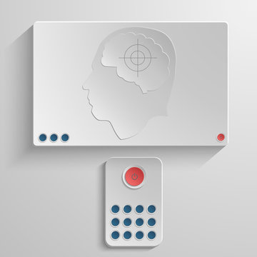 The concept of human dependence on information technology. The brain at the sight of the TV remote control. Vector illustration.