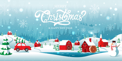Merry Christmas and Happy new Year, home town in the Forrest, Winter Background, Snow, Landscape.