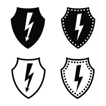 Voltage protection icon. Defensive shield and electricity or current sign. Vector Illustration