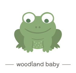 Vector hand drawn flat baby frog. Funny woodland animal icon. Cute forest animalistic illustration for children's design, print, stationery.