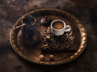 Old cezve and cup coffee, still life oriental coffee