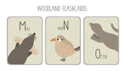 Colorful alphabet letters M, N, O. Phonics flashcard. Cute woodland themed ABC cards for teaching reading with funny mole, wren, otter..