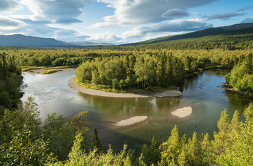 Fotomurales - A horseshoe bend in a river in the green hills of Jamtland, Sweden.