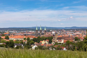 Aerial view of of Bamberg old town from the Altenburg hill