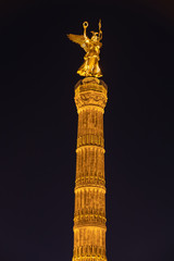 Night view of the Victory Column in Berlin