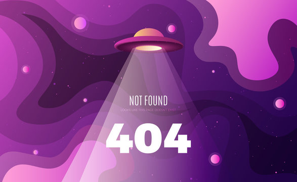 Space exploration modern background design with an alien ship in cosmos and Error 404, page not found text. Cute gradient template with Spaceship, Moon and Stars for poster, banner or website page