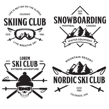 Vintage ski or winter sports logos, badges, emblems, design elements. Vector illustration. Monochrome Graphic Art.