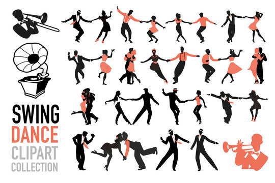 Swing dance clipart collection. Set of swing dancers isolated on white background.