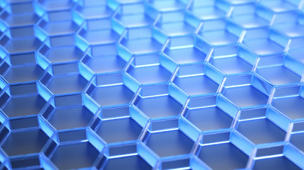 abstract hexagonal blue structure