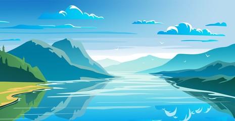 Foto auf Acrylglas Blau Natural landscape, mountains and lake, beautiful morning scene.