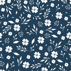 Seamless floral pattern with simple flowers and leaves. Blue and white vector illustration. Nature wallpaper design.