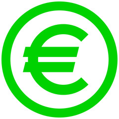 Euro currency sign symbol - green simple inside of circle, isolated - vector