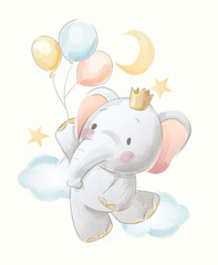 cute cartoon elephant and balloons illustration