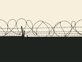 Silhouette of fence with barbed wires. Vector Illustration