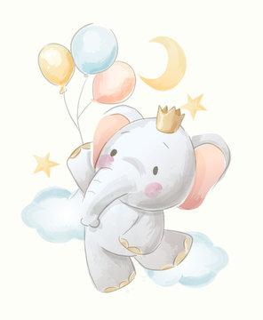 cute cartoon elephant and balloons illustration