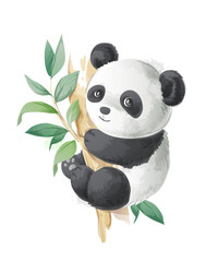 cute cartoon panda on a tree illustration