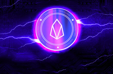 EOS digital crypto currency coin. Cyber money.