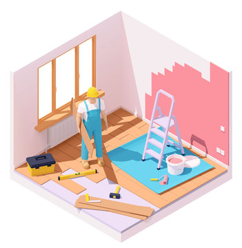 Vector isometric home renovation