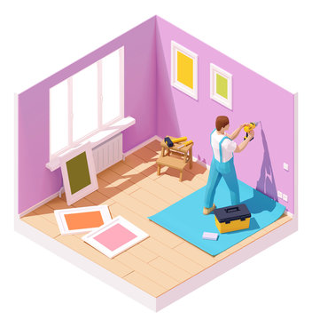 Vector isometric worker drilling wall