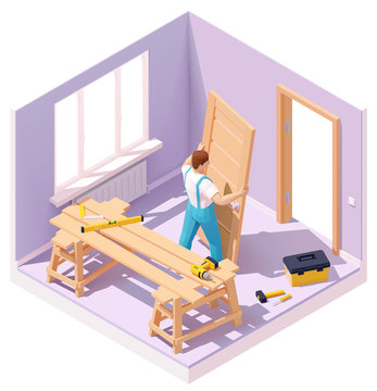 Vector isometric worker at door installation