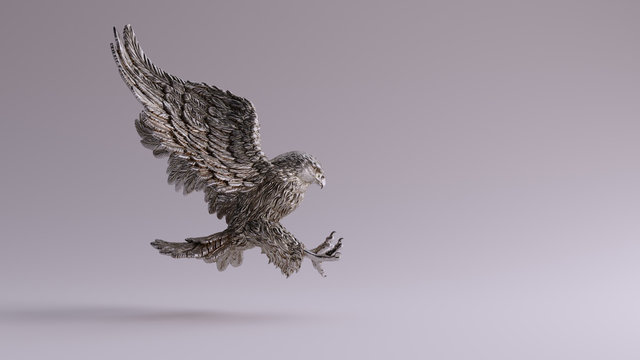 Silver Eagle in Flight Hunting Sculpture Right View 3d illustration 3d render