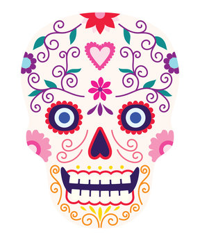 Dia de los muertos, Day of the death, sugar skull, flat design