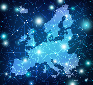 map of Europe overlaid with glowing network - abstract concept