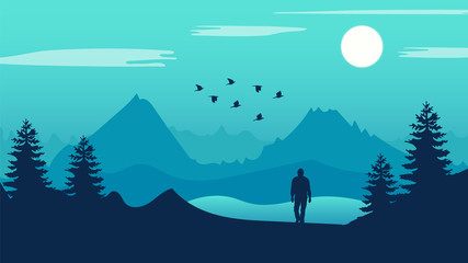 Man stood on mountain landscape Vector