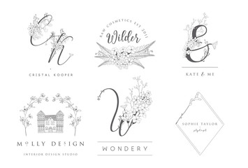 Vector set of line design elements for floral logos, monograms and frames and border. Decorated with detailed delicate flowers and brunches