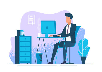 Young man working at workplace. Businessman at workplace. Bank employee. Vector illustration