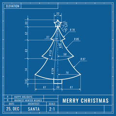Fototapeta Christmas tree as technical blueprint drawing. Christmas technical concept. Mechanical engineering drawings. Christmas and new year banner, cover, poster, flyer or greeting card obraz