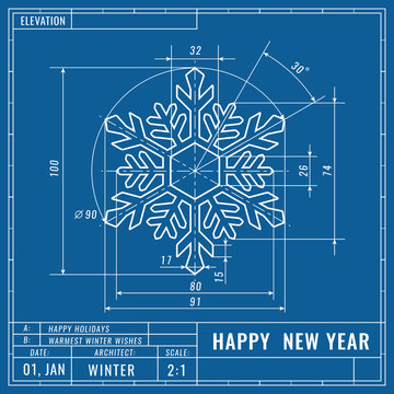 Snowflake as technical blueprint drawing. Christmas technical concept. Mechanical engineering drawings. Christmas and new year banner, cover, poster, flyer or greeting card