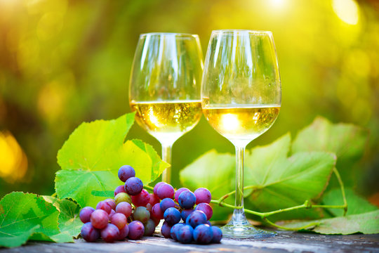 Wine. White Wine in wineglass. Romantic Dinner Outdoor. Wine tasting. Couple wine glasses and grapes close-up. Outdoors. Winemaking, winetasting