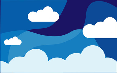 Sky clouds night concept vector illustration