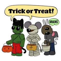 Cute Cartoon Monsters Trick-or-Treat