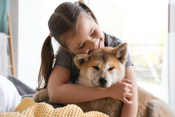 Happy girl with Akita Inu dog on bed. Little friends