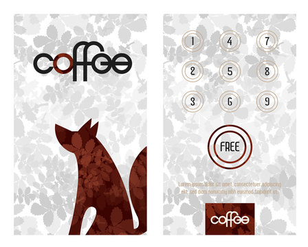Loyalty card. Horizontal card with loyalty program for customers of coffee Shops, caffee houses and more.