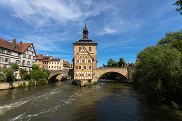 Stunning view of the old town hall in Bamberg