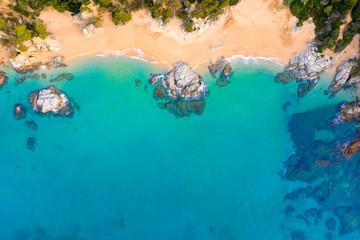 Fototapete - Azure sea with clean sandy beach