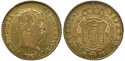 Spain Spanish golden coin 80 eighty reales 1822, head of King Ferdinand VII right, arms, crowned shield with designs surrounded by order chain