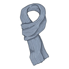 Vector Single Cartoon Gray Knitted Scarf