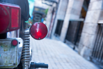 Tailling or rear lamp with spherical shape made from plastics for classic motorcycle