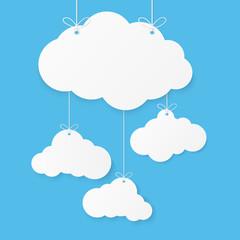 Foto op Plexiglas Hemel Paper art with cloud on blue sky background. Speech Bubble with white blank hanging. vector illustration