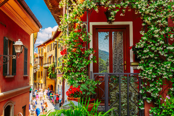 Colorful italian architecture in Bellagio town, Lombardy region, Italy