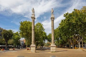 Roman columns at Alameda de Hercules in Seville, Spain