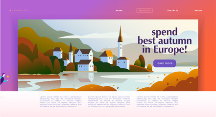 Vector landing page design template with beautiful flat europe autumn seacoast village landscape illustration. Special offer, vacation discount banner concept. For travel agency, touristic firm. Wall mural