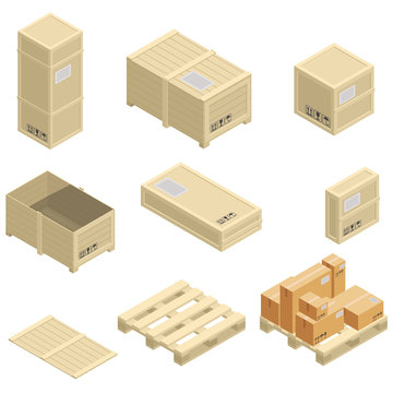 Isometric carton and wooden packaging box images set of different size with postal signs this side up fragile. Isometric Wooden boxes on white.