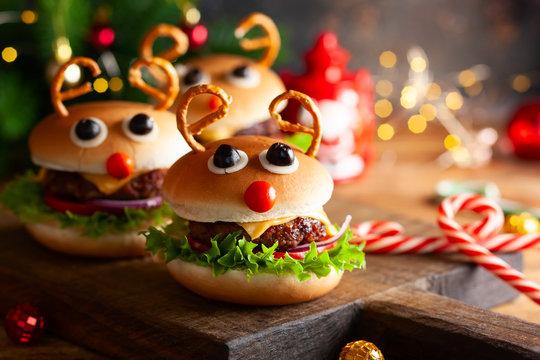 Kids Christmas burger Reindeer Sloppy Joe